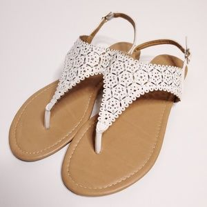 Dream Pairs Thong Sandals White Sparkle Size 10
